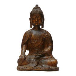 "Golden Lotus - Chinese Handmade Metal Golden Color Buddha Statue - Dimensions: w7.5"" x d6""x h12.5"""
