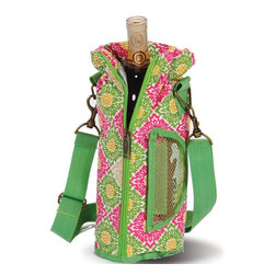 "Picnic Plus - Wine Pouch, Green Gazebo - The Picnic Plus Wine Pouch, is a classic carrier for your Chablis or chardonnay. Take your wine to your favorite bring-your-own restaurant, friend's house or carry it along on a picnic. This fully insulated tote holds 1 bottle and includes a wooden handle corkscrew opener.; Picnic Plus Wine Bottle Insulated Pouch with Opener;Country of Origin: China;Weight: 2 lbs;Dimensions: 12""H x 4""D"