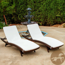 Christopher Knight Home - Christopher Knight Home Outdoor Brown Wicker Adjustable Chaise Lounge with Cushi - Ideal for enjoying some well-deserved relaxation poolside or on the deck, this set of cushioned wicker chaise lounges features adjustable backs for personalized comfort. These weather-resistant chaise lounges have folding legs that make storage simple.
