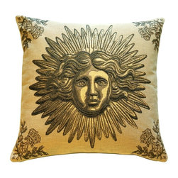 Pillow Decor Ltd. - Pillow Decor - Sun King Beige Tapestry Throw Pillow - Add a regal touch to your decor. This beaming, beautiful Sun King motif (the emblem of Louis XIV) brings a sense of golden grandeur to your favorite setting.