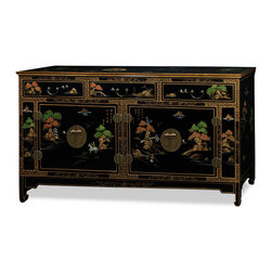 """China Furniture and Arts - Chinoiserie Scenery Black Lacquer Sideboard - Chinoiserie motifs of blossoming trees, idyllic landscapes and noble personages are skillfully hand painted on raised gesso over this uniquely elongated chest. Perfect for the dining room, living room or bedroom. The polished cast-brass pulls and decorative hinges are symmetrically fitted, reflecting the Chinese ideal of unity and balance. Three felt-lined drawers with interior measurements of 18.25""""W x 13""""D x 3.75""""H are ideal for your treasured collectibles. The two lower compartments measure 32""""W x 16.75""""D x 17.5""""H and contain one removable shelf apiece for your storage convenience. The cabinet is finished in a rich and shiny black lacquer to produce a truly eye-catching piece of furniture. Cable outlets can be made upon request. Please see matching mirror Part No. MMI05YBM."""