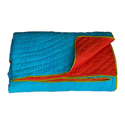 KOKO - Twin Coverlet, Reversible, Turquoise/Red - The colors in this quilt are so vibrant and lively. It would surely steal the show on your bed or sofa. All that beautiful stitch work deserves to take center stage where ever it's used.
