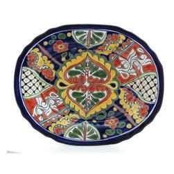 "Mexican Talavera - Mexican Talavera 14"" Oval Platter, Design B - Mexican Talavera 14"" Oval Platter"
