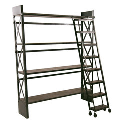 Carlyle Library Bookshelf with Rolling Ladder
