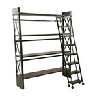 Carlyle Library Bookshelf with Rolling Ladder - With antiqued iron construction and functional support beams, this shelf boasts industrial strength — and style, too. Inspired by vintage library shelving, this sleek storage option offers four levels of mango wood shelf space for all of your reading materials and more. Plus, a stylish rolling ladder keeps every tier within your reach.