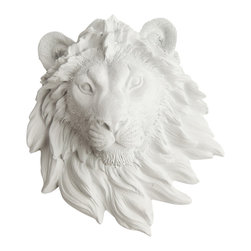 White Faux Taxidermy - White Faux Taxidermy - Mini Lion Head - Fake Animal Mounts - Measurements: