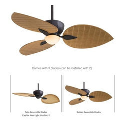 Minka Aire - Minka Aire Terrana Ceiling Fan in Kocoa - Minka Aire Terrana Model MF-F680-KA in Kocoa with Reversible All-Weather Palm/Rattan Finished Blades.