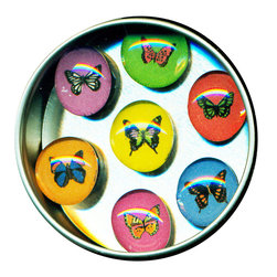 """Butterfly Glass Gem Magnet Set - Handmade in our studio, our Butterfly glass gem magnets started with a tiny painting which was reduced to size and reproduced. We use super strong ceramic magnets, so they're not only cute, they're functional. (Unlike those magnets that fall off when you close the refrigerator door!) Each magnet is about 3/4 inch wide, the tin is 2.75"""" wide. Set of 7 in a tin. Made in the USA."""