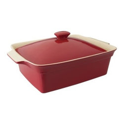 BergHOFF Geminis 14.25 in. Rectangular Covered Baking Dish - With a red glaze so shiny it looks like patent leather, the BergHOFF Geminis 14.25 in. Rectangular Covered Baking Dish cooks even better than it looks. The rectangle shape dish and convenient lid are so versatile. Made of high-quality stoneware, this is sure to become a favorite go-to dish around your kitchen.About BergHOFFA leader in innovation, style, and quality, BergHOFF International offers a full line of tabletop and kitchenware products that are backed by one of the best warranties in the industry. Their products are well respected for highest quality for value in the European and American promotional, retail, and foodservice sectors. Committed to offering affordable quality, BergHOFF relies on quality research and the work of their experienced in-house designers to give you cooking equipment that exhibits the perfect mix of timeless style, efficiency, and originality. Established in 1994, BergHOFF operates in 57 countries and is present on six continents, directing a worldwide network of agents and distributors form its world logistics headquarters in Belgium (Heusden-Zolder).