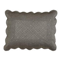 Horchow - Quilted Tudor Standard Sham - GRAY - Quilted Tudor Standard Sham