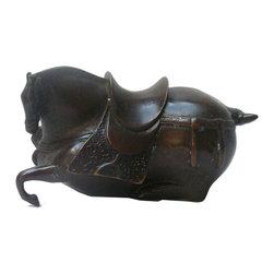 "Golden Lotus - Metal Bronze Oriental Crouching Horse Figure - Dimensions:  6.25"" x 3""x  h3.5"""