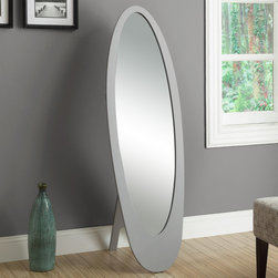 "Monarch - Grey Contemporary Oval Cheval Mirror - Mirror, mirror on the wall, tell me I am the fairest of them all! Well you can be with this contemporary oval shaped cheval mirror. This solid wood satin silver finished mirror is the perfect accent piece to have in your room for when you get ready for your work day or a fancy evening out. This full length mirror is sure to give you the look you desire.; Material: Wood, Glass; Dimensions: 19""L x 20""W x 61""H"