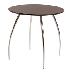"Eurostyle - Bistro 30"" Table-Wht/Chrm - Do you need a place to rest a book, place a glass of wine or a bowl of nuts? This modern 30-inch-diameter table works in any room, with a clear lacquered surface that's easy to clean. It can even double as a play surface for the kids."