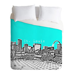 DENY Designs - Bird Ave St Louis Aqua Duvet Cover - Turn your basic, boring down comforter into the super stylish focal point of your bedroom. Our Luxe Duvet is made from a heavy-weight luxurious woven polyester with a 50% cotton/50% polyester cream bottom. It also includes a hidden zipper with interior corner ties to secure your comforter. it's comfy, fade-resistant, and custom printed for each and every customer.