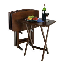 Winsome Wood - Oversize TV Table, Set of 5 - Our Oversize TV Table comes with sturdy wooden legs. These tables are oversized to offer extra dining or working surface. This tables are made with combination of solid and composite wood and has warm walnut finish.