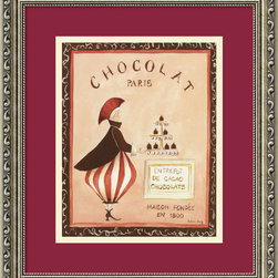Amanti Art - Chocolat, Paris Framed Print by Katharine Gracey - Ooh la la! Would you like an extravagant tray of chocolates served by an eccentric chocolatier? Mais oui! This whimsical print is custom framed and ready to hang on your walls. Featuring a rich color palette, it has the luxurious feel of the decadent chocolate itself.