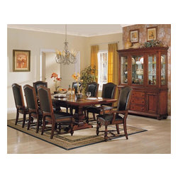 Winners Only - Ashford 10 Pc Dining Set - Includes table, two arm chairs, six side chairs and buffet with hutch. 24 in. table leaf extension. Traditional style. Chairs with upholstered seat and back. Buffet and hutch with three drawers and two doors. Cherry finish. Table minimum: 76 in. L x 44 in. W x 30 in. H (283 lbs.). Table maximum: 76 in. L x 44 in. W x 30 in. H (283 lbs.). Arm Chair: 28 in. W x 22 in. D x 43 in. H (32.5 lbs.). Side Chair: 26 in. W x 22 in. D x 44 in. H (26 lbs.). Buffet and hutch: 68 in. W x 18 in. D x 84 in. H (443 lbs.)