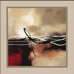 Amanti Art - Symphony in Red and Khaki II Framed Print by Laurie Maitland - Create a thoughtful mood with a dramatic burst of light, breaking from behind golden-grayish clouds, above a crimson and black sea. Abstract though it may be, Laurie Maitland's print evokes light and shadow with a simple palette of red and khaki. Fine lines in jet black and white provide details and add an unexpected twist.