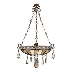 Fine Art Lamps - Encased Clear Crystal Gems Pendant, 712240-3ST - Bring light and luxury into your home with this remarkable pendant fixture. A venerable bronze patina, intricate chains and a bevy of beautiful crystal gems combine for a stunning effect.