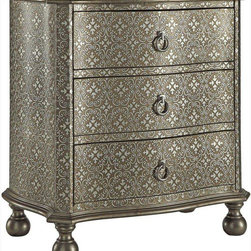 Coaster - Accent Cabinet, Antique Silver - This accent cabinet will surely make a statement piece in your home. Featuring an intricate damask pattern in shades of antique silver, this three drawer cabinet also has stylish ring drawer pulls, ball feet and a slightly curved front.