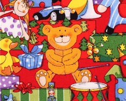red Christmas toys present Christmas fabric Santa's Workshop - Xmas fabric by Fabri-Quilt from the USA with teddy bear, drums, doll & presents