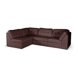 """Baxton Studio - Baxton Studio WARREN Brown Leather Modern Modular Sectional Sofa - The merits of our Warren Modern Sectional are threefold: a modular design, supple cushioning, and easy-to-clean brown bonded leather. Without question, this is one of the most comfortable bonded leather designer sofas we have come across: the foam cushioning is yielding and has a true """"plop"""" factor as you sit down. Each of the four pieces included with this set can be repositioned as desired and may even be used in different parts of the room (or in different rooms altogether)! Included with purchase are two armless sections and two corner/one arm sections. The contemporary sectional is built on a wooden frame and includes black wood legs with non-marking feet. The Warren Living Room Sectional should be wiped clean with a solvent of mild detergent and water. Minor assembly is required."""