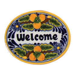 Native Trails - Tile Welcome Plaque in Peaches, Small - This plaque is just peachy. Give your visitors a warm welcome with this handmade tile. Skilled artisans craft it entirely by hand, so each is unique just like your guests.