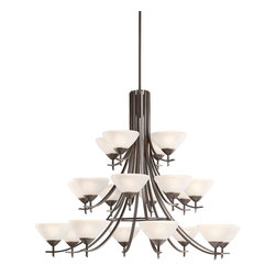 Kichler Lighting - Kichler Lighting 1861OZW Chandelier - Olde Bronze with Satin Etched White Glass - Bulb Type: MED. Bulb Base: Medium (E26). Bulb Count: 20. Bulbs Not Included