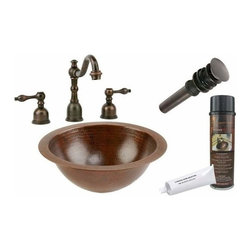Premier Copper Productsu - Undermount Round Copper Sink w/ORB Faucet - BSP2_LR12FDB Premier Copper Products Small Round Under Counter Hammered Copper Sink with ORB Widespread Faucet, Matching Drain and Accessories