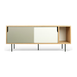 Temahome - Dann Sideboard - The Dann sideboard's most prominent feature is the two-toned notched sliding doors which cover the two left most compartments of this unit.  Also available is a matching coffee table.