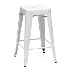Marius Counter Stool White - Seen in popular bistros in France, the Marius counter chair will transform your space into a café in Paris. The stool is 100% powder coated steel for durability.  Also comes as a bar chair or a step stool. - See more at: http://stylishbeachhome.com
