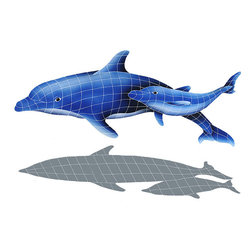 "Glass Tile Oasis - Dolphin Pair with shadow Pool Accents Blue Pool Glossy Ceramic - Sheet size:  37"" x 57""     Tile thickness:  1/4""   Sheet Mount:  Mesh Backed    Sold by the piece   - We offer six lines of in-stock designs ready for immediate delivery including: The Aquatic Line  The Shadow Line  The Hang 10 Line  The Medallion Line  The Garden Line and The Peanuts® Line.All of the mosaics are frost proof  maintenance free and guaranteed for life.Our Aquatic Line includes: mosaic dolphins  mosaic turtles  mosaic tropical and sport fish  mosaic crabs and lobsters  mosaic mermaids  and other mosaic sea creatures such as starfish  octopus  sandollars  sailfish  marlin and sharks. For added three dimensional realism  the Shadow Line must be seen to be believed. Our Garden Line features mosaic geckos  mosaic hibiscus  mosaic palm tree  mosaic sun  mosaic parrot and many more. Put Snoopy and the gang in your pool or bathroom with the Peanuts® Line. Hang Ten line is a beach and surfing themed line featuring mosaic flip flops  mosaic bikini  mosaic board shorts  mosaic footprints and much more. Select the centerpiece of your new pool from the Medallion Line featuring classic design elements such as greek key and wave elements in elegant medallion mosaic designs."