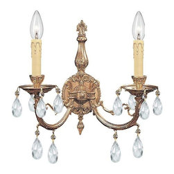Crystorama Lighting - Crystorama Lighting 492-OB-CL-MWP Etta Traditional Sconce in Olde Brass - Crystorama Lighting 492-OB-CL-MWP Etta Traditional Sconce in Olde Brass with Clear Hand Cut Crystal