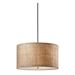 Dafina Hanging Shade Pendant - The Dafina Hanging Shade boasts a sophisticated warmth, much like that found in country carriage houses where riding accoutrements are found in the foyer and aged wood carriers rest by the fire. The simple drum shade features an antiqued burlap weave paired with a white inner liner, creating a timeless appeal. The frosted glass diffuser allows for a most gentle illumining.