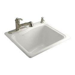 KOHLER - KOHLER K-6657-2R-0 River Falls Self-Rimming Utility/Laundry Sink - KOHLER K-6657-2R-0 River Falls Self-Rimming Utility/Laundry Sink with Two-Hole Drilling for Single-Hole Faucet and Right-Hand Accessory in White