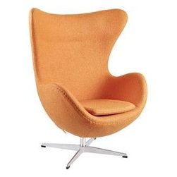"LexMod - Glove Wool Lounge Chair in Orange - Glove Wool Lounge Chair in Orange - The Glove Chair provides evidence of movement in design to adapt more organic forms into our living spaces. Designed to remind us of the natural world, this chair provides sheer comfort and relaxation. Get back to nature with the Glove Chair. Set Includes: One - Glove Chair in Woolen Mix Upholstered in Wool, Aluminum Rotating Base, Re-enforced Fiberglass Frame Overall Product Dimensions: 31.5""L x 35""W x 42.5""H Seat Height: 16""H Armrest Height: 27""H - Mid Century Modern Furniture."