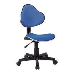 Flash Furniture - Rolling Office Chair in Turquoise - Make any work or study space more fun with this student chair. Of course, adults may find it irresistible as well, because it's ergonomic, colorful and downright comfortable. A wide caster base supports the curvy seat and back and it's height adjustable, too. The perfect chair for any room in your house. Whether for the kids or for your home office, this chair will be a perfect addition. Ergonomic task chair. Contoured seat and back. Chrome finished metal accent bands around seat and back. Blue Fabric upholstery. Pneumatic seat height adjustment. Nylon base. Dual wheel carpet casters. 150 lbs. weight limit. Seat Height: 17 in. - 21½ in. H. Back: 16½ in. W x 13½ in. H. Seat: 17¾ in. W x 16¾ in. D. Overall: 17¾ in. W x 20½ in. D x 33 in. - 37½ in. H