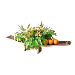 """Master Garden Products - Double oak staves tray with support, 36""""L x 8""""W x 5""""H - These multi-stave trays are dual functioning pieces.  Optional support is available for extra cost. The large scale of the multi-stave tray easily accommodates your arrangements of flowers, fruits, vegetables, pine cones, or holly boughs."""
