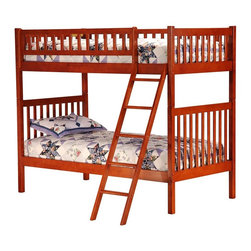 """Atlantic Furniture - Arizona Solid Hardwood Mission Style Twin Bun - Enjoy the craftsmanship of this Mission Style twin bunk bed with top safety railings and sturdy ladder access.  Vertical slatting adds height and blends with any decor.  Solid hardwood construction means long-wearing durability.  Optional underbed drawers offer extra storage for organization in tight spaces. * Arizona Design. Constructed from solid Asian hardwood. Mission Style with square posts and slats. All Bunks are sold complete with 2 - 14 piece hardwood slat kits and freestanding Ladder. Clearance from floor without trundle or storage drawers: 11.25 in.. 68"""" H x 41.5"""" W x 81"""" D, 169 lbs packed. Mattresses not included. Bunk Bed Cautions. Please read before purchase."""