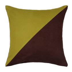 LaCozi - Duo Olive Green & Brown Throw Pillow - It's a double act! A dashing duet of olive green and brown come into play with this 100 percent cotton pillow. Double stitching and finished inside seams give this decorative modern pillow its durability and the feather down insert offers a perfect plush to comfort ratio.