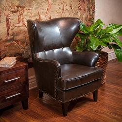 Christopher Knight Home - Christopher Knight Home Warner Bonded Leather High Back Chair - The Warner high back chair is a great piece for any room in your home. The structured frame and cushion design offers a modern touch of class. With an innovative look and attention to detail this chair is a perfect blend of form and function.