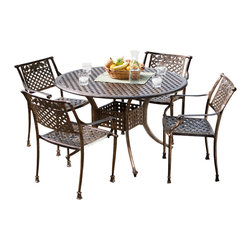 Great Deal Furniture - Sierra Cast Aluminum Outdoor Dining Set in Copper Finish - The Sierra dining set features a basket weave pattern on the chairs and the table to add extra opulence and richness. The pattern also provides strong support for seated persons and dishes and beverages on the table. The four chairs feature gently sloped armrests--also artistically designed--for added comfort and insured relaxation. Crafted out of cast aluminum for many, many meals to remember, and finished with a dark copper to create an antique appearance.