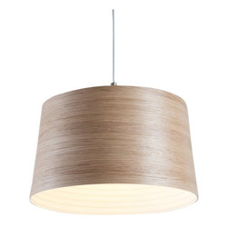 EcoFirstArt - The White Light - Modern loveliness is yours when you hang this minimalist pendant lamp, constructed of coiled oak with a satin white interior. Handmade from sustainably sourced wood in Cornwall, England, this lamp is a modern piece that you can feel good about.