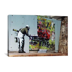 """Banksy - Banksy Canvas Print // Graffiti Wallpaper Hanging // 26"""" H x 40"""" W - Museum-quality canvas print by Banksy gallery wrapped and ready for wall hanging with no additional framing required. The canvas print is remarkably bright in color and unrivaled in detail with quality ink that has been light-tested to last over 100 years!"""