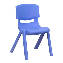 Flash Furniture - Flash Furniture Blue Plastic Stackable School Chair with 12 Inch Seat Height - This chair is the perfect size for preschool to kindergarten sized children. Having young children sit in a chair that is designed for them is important in developing proper sitting habits that will last them a lifetime. Not only are these chairs designed properly, but they are lightweight so kids can feel independent by moving the chairs themselves. [YU-YCX-001-BLUE-GG]