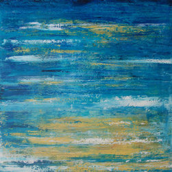 """""""Sunny Reflections"""" (Original) By Sarah Gentry - This Is A 24""""X24"""" Oil And Mixed Media Painting On Wood Board.  The Frame Is 3"""" Deep And Has Been Left An Unpainted Natural Wood.   There Are Lovely Deep Blues Highlighted With Yellows....Like The Sun Reflecting On The Ocean.  This Would Be A Great Peace In A Beach House Or Sunny Room."""