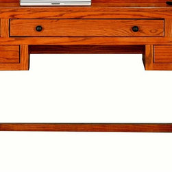 Eagle Furniture Manufacturers - Oak Ridge Writing Desk (Light Oak) - Finish: Light Oak. One Keyboard/Pencil Drawer combo. Two drawers. straight leg base. Designed with fluted detailing and finished back. Warranty: Eagle's products are guaranteed against material defects for one year from date of delivery to the dealer. Made in USA. No assembly required. 50.75 in. W x 22.75 in. D x 32 in. H (79.7 lbs.)The Oak Ridge collection combines American oak hardwood with updated contemporary styling. Heavy crown molding, sleek lines, fluted side molding, black brushed metal hardware, solid oak frames and solid oak recessed doors give this transitional collection a style all its own