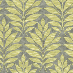 York - Wb5489 Textural Leaf Leaves Damask Wallpaper - WB5489 Textural Leaf from Botanical Fantasy by Ashford House is a silver , green colored leaves , damask wallpaper pattern.  This collection of wallpapers from York are vinyl coated and prepasted.