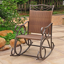 International Caravan - International Caravan Valencia Resin Wicker/ Steel Frame Rocking Chair - The Valencia resin wicker and steel frame rocking chair is a comfortable and stylish addition to any outdoor setting.  The steel frame is complemented with flat-woven resin wicker,adding a touch of style to this rocker.