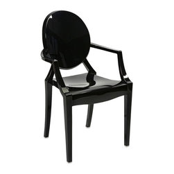 Modern Acrylic Juniper Black Acrylic Arm Chair - *Featuring a modern and funky design concept, this trend-setting stylish chair incorporates a cutting edge opaque black acrylic design that transitions well in a variety of Decor.